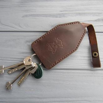 Ключница из натуральной кожи,кожаная ключница темный шоколад_подарок мужчине