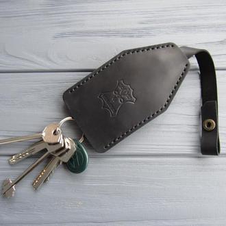 Ключница из натуральной кожи_черная кожаная ключница_подарок мужчине, подарок коллеге