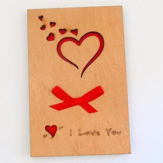 Акция! Открытка с деревянной обложкой I love you Сердце