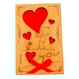 Открытка с деревянной обложкой I love you Влюблённый Человечек