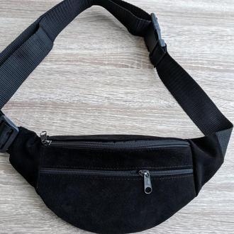 Стильная бананка из натуральной кожи, сумка на пояс натуральная кожа - черный матовый замш