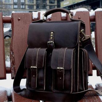 Мужская кожаная сумка, сумка-портфель
