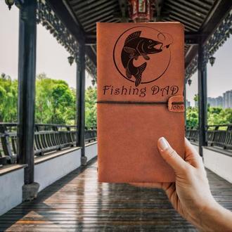 Подарок для рыбака,Блокнот из кожи,Коньячный блокнот для записей,Мужской блокнот,Подарок мужу