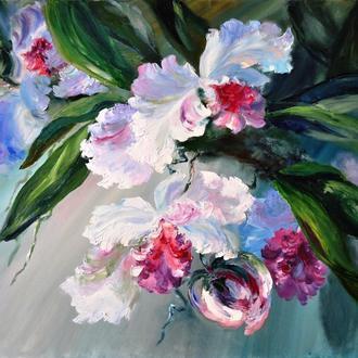 «Орхидеи», картина маслом, 40х50 см, тропические цветы
