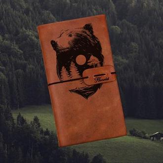 Блокнот с медведем,Блокнот из кожи,Скетчбук,Блокнот с гравировкой,Мужской блокнот,Подарок парню