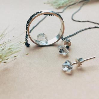 Серьги с херкимерским алмазами, гвоздики , кристалл ,