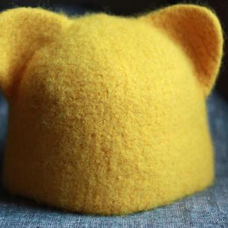 Теплая зимняя шапка Кошка