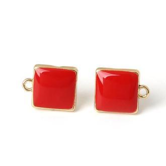 Квадратные швензы-гвоздики с красной эмалью, золото | № 00544