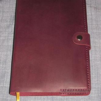 Обложка обкладинка для блокнота чи щоденника формату А5 бордовий