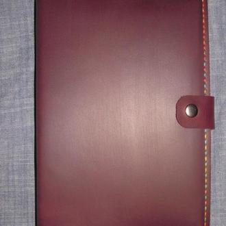 стильна обложка обкладинка для блокнота чи щоденника формату А5 бордовий + нитка мультиколор