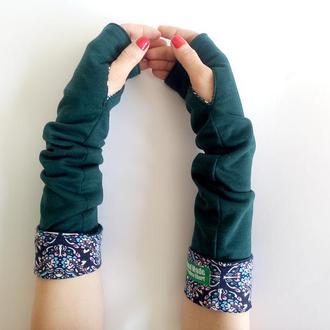 Митенки Рукава трикотажные зеленые. Митенки длинные под шубу или жилетку
