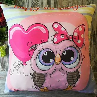 Подушка совенок с сердечком, 45 * 45 см