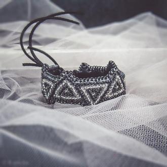 Браслет геометрия / Браслет из бисера / браслет бижутерия / красивый браслет / широкий браслет