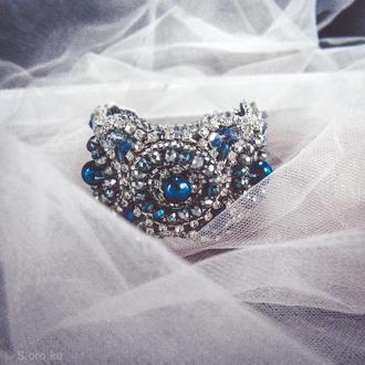 Браслет из бисера и камней / браслет бижутерия / красивый браслет / широкий браслет / синий браслет