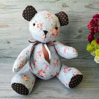 Мягкая текстильная игрушка мишка тедди голубой с розовыми цветочками №2