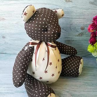 Текстильная мягкая игрушка мишка тедди шоколадного цвета №4
