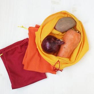 Набор мешочков-сеток для овощей и фруктов.