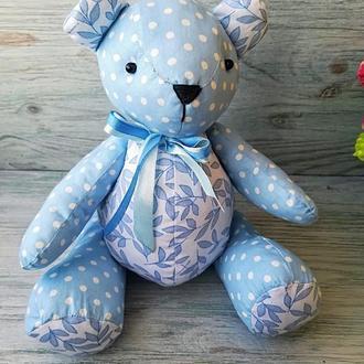 Текстильная мягкая игрушка мишка тедди голубой горошек №7
