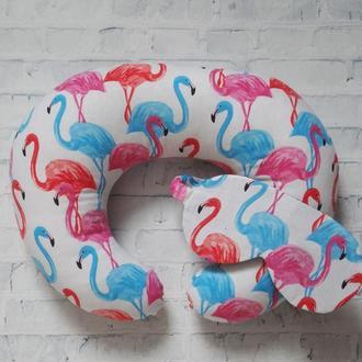 Двухсторонняя подушка для путешествий, дорожная подушка, в дорогу из плюша и хлопка - фламинго