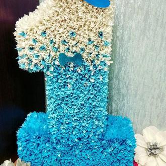 Цифра 1 один  70 см для малыша, в любом цвете, пушистая и красивая на годик, день рождения