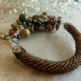 """Браслет """"Гречиховый мед"""" с жгутом из бисера и натуральных камней. Подарок 8 марта."""