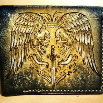 Мужской кошелек, мужское портмоне, кошелек с черепами