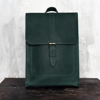 Кожаный рюкзак Minimal Backpack зеленого цвета