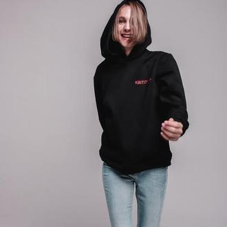 Черный худи Квіточка на флисе от бренда don na telo XS