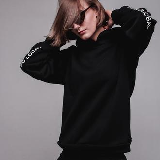 Черный худи Think global do local на флисе от бренда Don na Telo размер L