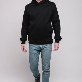 Черный худи на флисе от бренда Don na Telo без принтов и надписей размер L