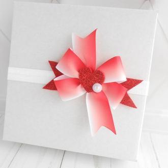 Красный бантик с сердечком на Валентина Подарок малышке Украшение для волос на фотосессию девочке