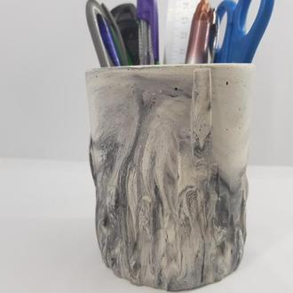 Стакан - подставка (карандашница) для канцелярии из бетона, сделанный вручную, в стиле Loft