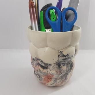 Стакан для ручек и карандашей из бетона, сделанный вручную, стиль Loft - Мультицвет 2
