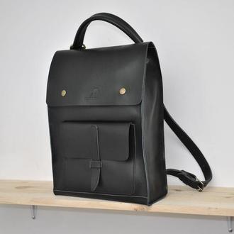 Женский кожаный рюкзак трансформер Jerry (Черный глянец) (11)