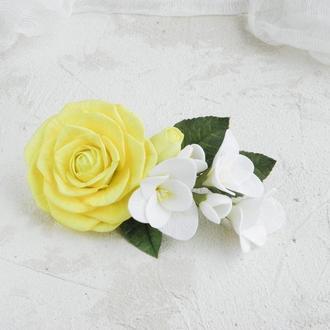 Шпилька для волосся з трояндами і фрезією, Весільний гребінь з квітами, Подарунок дівчині