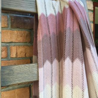 Вязаный плед пудово-розовый 150х200 см
