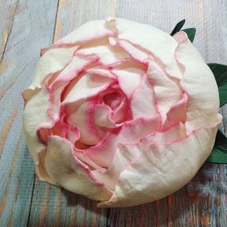 Невероятно мягкая роза заколка брошь из зефирного фоамирана