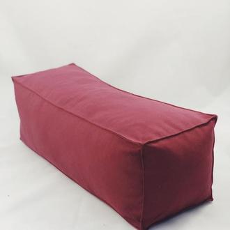 Подушка диванная гипоаллергенная. Подушка-валик. Прямоугольная подушка. Бордовая подушка.