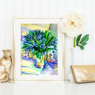 Цветы картина Букет картина Весенняя картина Нежные цветы Картина с цветами Картина акварелью Цветы