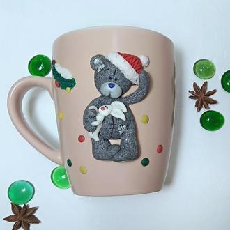 Чашка Тедди с зайкой, чашка в подарок, подарок на праздник