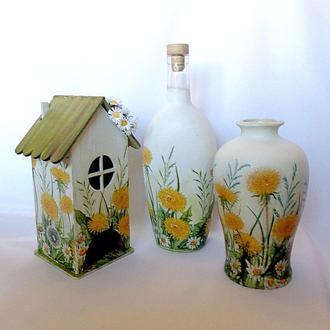 """Декоративный набор - бутылка, ваза и чайный домик - """"Одуванчик"""""""