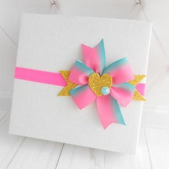 Розовая повязка с бантиком для малышки на Валентина Украшение на голову для девочки Подарок ребенку
