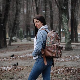 Рюкзак Квіти коричневий | Flowers winter 2017 brown backpack | FRANKO