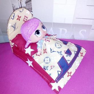Кровать и постель для кукол Лол.