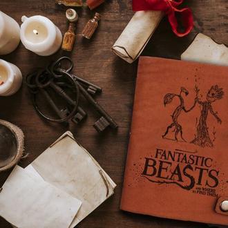 Фантастические твари, Блокнот из кожи, Записная книжка, Скетчбук, Блокнот с гравировкой, Подарок