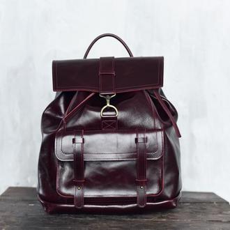 Кожаный рюкзак Trevel бордового цвета