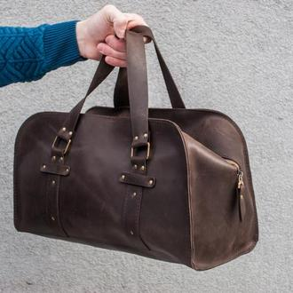 Кожаная спортивная сумка. Дорожная сумка. Арт. 02002