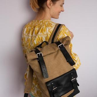 Рюкзак Roll Top Max из натуральных материалов, хлопка высокой плотности и натуральной кожи