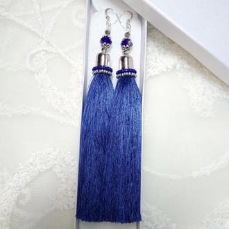 Серьги-кисточки длинные синие. Сережки-китиці довгі сині.