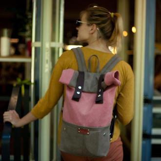Рюкзак Roll Top Veggie из плотного хлопка. Без использования кожи!